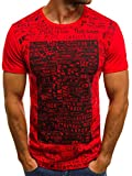 OZONEE Herren T-Shirt T Shirt Tshirt Kurzarm Kurzarmshirt Tee Top Sport Sportswear Rundhals U-Neck Rundhalsausschnitt Aufdruck Motiv Print O/1173 ROT L