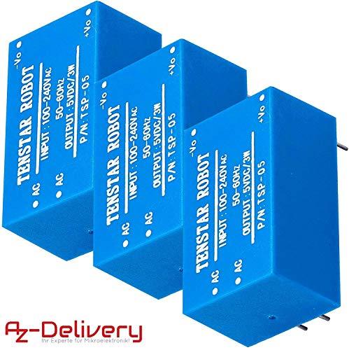 AZDelivery 3 x 220V a 5V Fuente de alimentación Mini para Arduino y Raspberry Pi con incluido