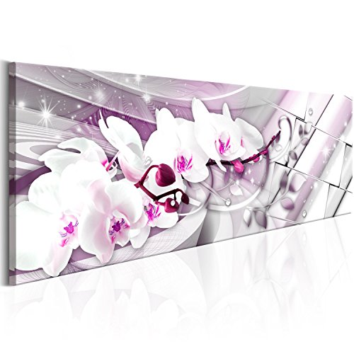 murando Acrylglasbild Abstrakt 135x45 cm Wandbild auf Acryl Glas Bilder Kunstdruck Moderne Wanddekoration - Orchidee Blumen rosa Silber b-B-0144-k-d