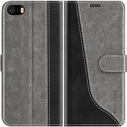Mulbess Custodia per iPhone 5S, Cover iPhone SE 2016 Libro, Custodia iPhone 5 Pelle, Flip Cover per iPhone 5S Portafoglio, Grigio