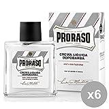 Set 6 PRORASO D-Barba Crema Liquido Blanco 100 ml Anti-irritación Perfumes