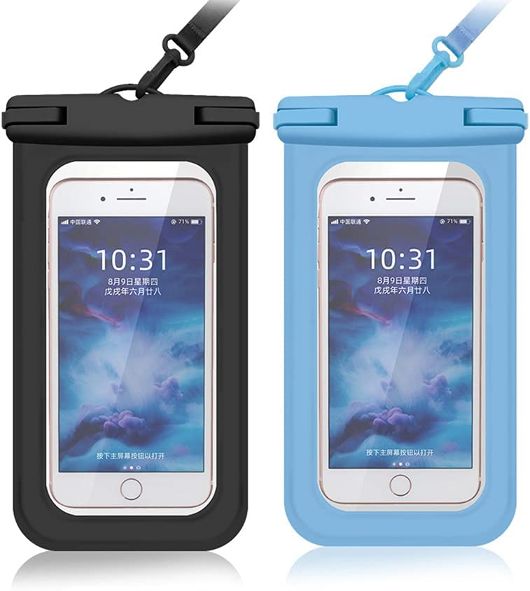 Cexoda Universal Waterproof Case,Waterproof Phone Pouch Compatible,Cellphone Dry Bag Pouch for iPhone 12 Pro Max 11 Pro Max Xs Max XR XS-2Pack (Black&Blue)