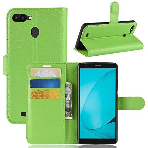 Funda® Flip Portafoglio Custodia per Blackview A20 Pro (Verde)