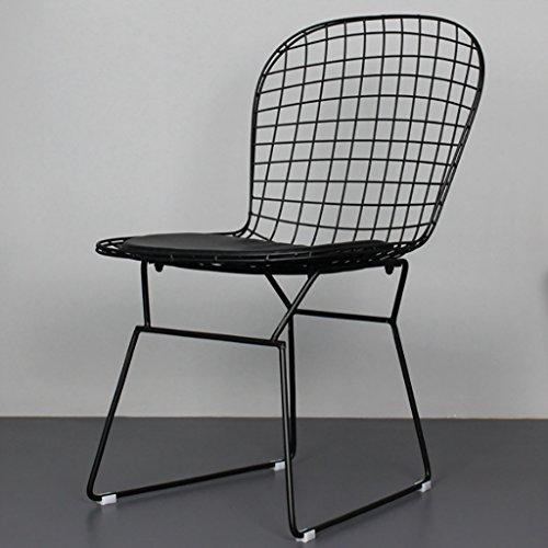 Canyi Z Nordic Ins Metall Drahtgeflecht Stuhl Hause Geschäft Schmiedeeisen zurück Freizeit Stuhl Größe: 57 * 53 * 81 cm (Farbe : Black)