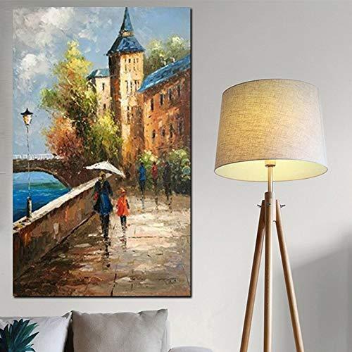 wZUN Paisaje y Gente Pintura al óleo Sala de Estar Arte Mural Arte 90x60 Sin Marco