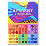 UCANBE 54 Colors Splashy Candies Eyeshadow Palette, Highly Pigmented Matte Shimmer Soft Creamy Glitter Rainbow Bright Powder Eye Shadow Blendable Waterproof Long Lasting Makeup Pallet