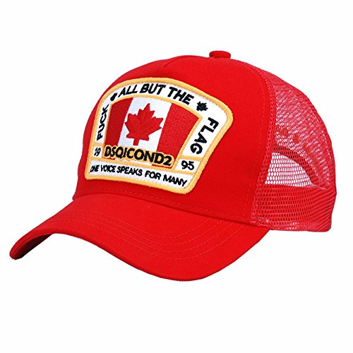 HYP@Baseball Cap/Baseballkappe/Trucker Cap/Trucker Hat/Golf Sport Outdoor Kappe Mütze CapDen Herren der Maple Leaf Netz Cap Rot hinterlegt, die ADJ.