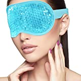 Sleeping Weighted Eye Mask for Woman Man Reusable Gel Beads Ice Pack with Soft Plush Backing Hot Cold Therapy Eye Pillow for Puffy Eyes, Dark Circles, Headaches, Migraines, Stress Relief - Blue