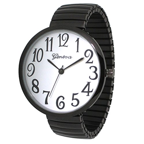 Black Super Large Face Stretch Band Easy to Read Watch