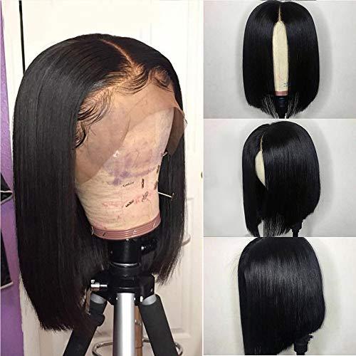 Riya Peluca de pelo humano virgen brasileño de 13 x 6 cm, parte media recta corta Bob pelucas con pelo de bebé pre arrancado para mujeres negras 150% densidad (10 pulgadas, negro) natural