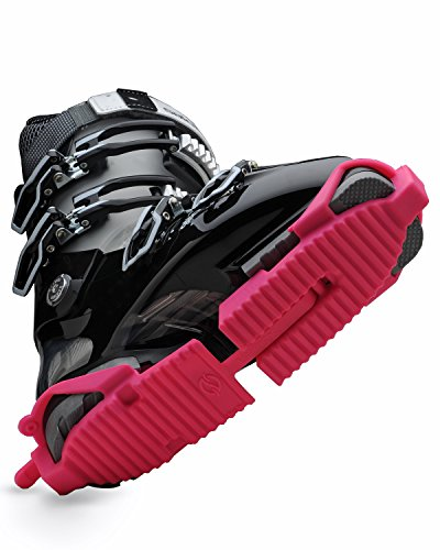 Ski Skooty Skiing Boot Traction Cleats - (1-Pair, Pink) - Adjustable Track -Comfort Soles for Protection and Walking in Ski Boots