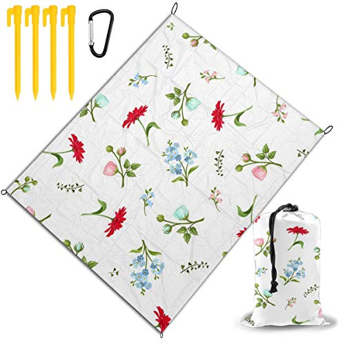 Best Bargain Outdoor Picnic Blanket 67x57inch Colorful Roses and Chrysanthemums Foldable Waterproof ...