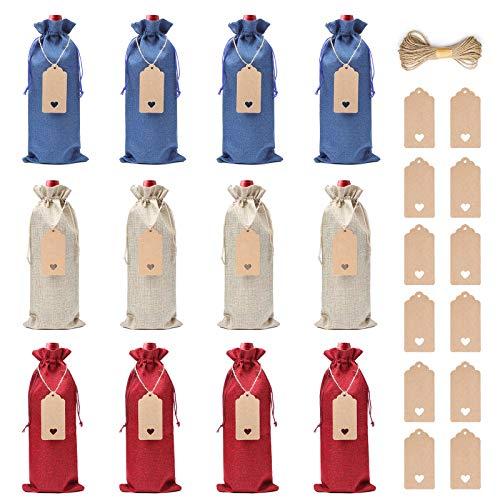 Bolsas de Vino de Yute, XiYee 12 Bolsas de Vino de Arpillera, 35cm X 15cm Hessian Wine Carriers con Cordón, Bolsas de Regalo para Vino Envoltura de Botella para Cata de Vinos Fiesta Boda Cumpleaños