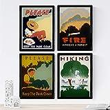 Nacnic Posters Vintage. Posters con anuncios Antiguos. Cuatro Carteles Vintage de prevención de Fuegos. Tamaño A4