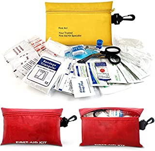 Small First Aid Kit, 100 PCS Compact Waterproof Mini Emergency Survival Kit FDA OSHA Compliant for Home Car Camping Backpacking Hiking School Office & Survival First Aid Supplies (Red)