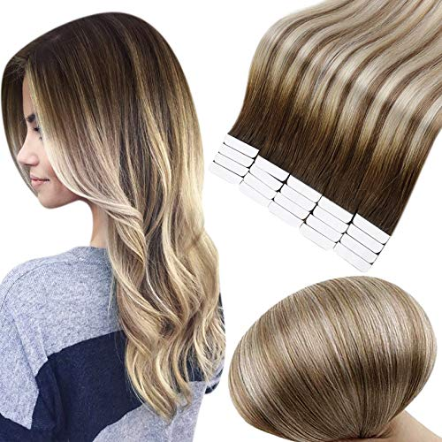 Full Shine Tape in Hair Extensions Remy Human Hair 12 Inch Glue in Hair Extensions 3 Dark Brown Fading to Ash Brown and Blonde Seamless Tape in Hair Double Sided