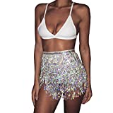 Kakaco Hip Skirt Tassel Sequins Belly Dance Costume Party Rave Skirts Fringe Hip Scarf for Women and Girls (Silver)