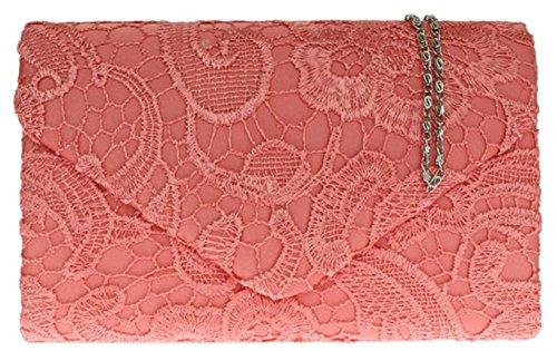 Damen Satin Spitze Handtasche Schulter Ketten elegante Hochzeits Abend-Frauen - Koralle
