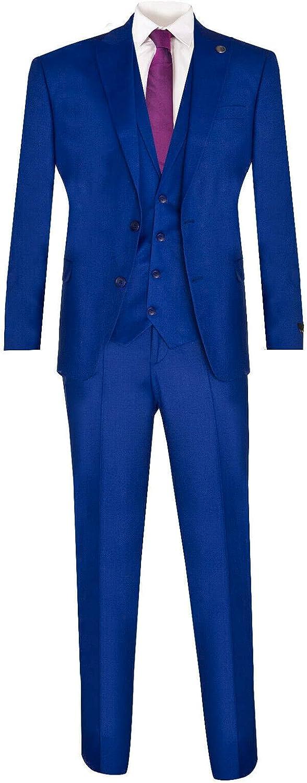 New Men's 3 Piece Trouser Vest Blazer Plain Classic Tailored Fit Smart Casual 2 Button Formal Party Wedding Suit