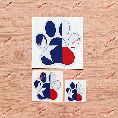 Dog Paw Print Track K9 Unit Texas Flag Vinyl Decal Sticker - 3 Pack Reflective, 2 Inches, 3 Inches, 5 Inches - for Car Boat Laptop Cup Phone