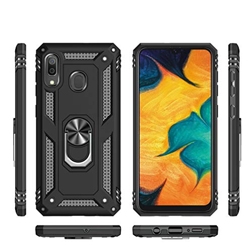 Samsung Galaxy A10 Hoesje met Magnetische Ring Houder Kickstand, Full Body Protective Silicone TPU Gel Dual Layer Schokbestendig Tough Armour Defender Telefoonhoes voor Samsung Galaxy A10 Samsung Galaxy A10 Zwart