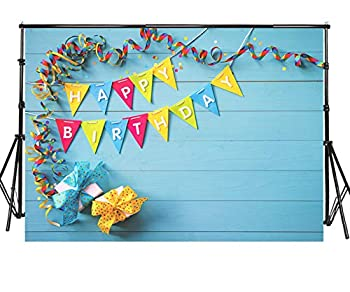 Sensfun 7x5ft Happy Birthday Photography Backdrops Colorful Happy Birthday Banner Streamers on Blue Wood Photo Background for Birthday Party Cake Table Decorate Children Photobooth Studio Props WP050