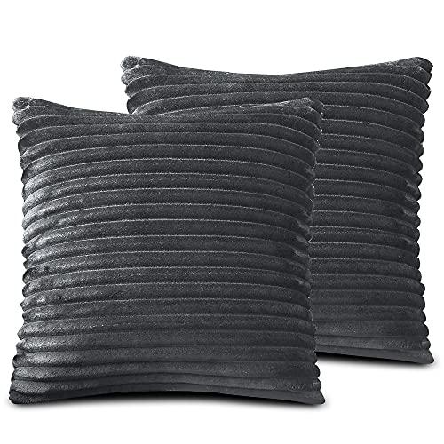 FARFALLAROSSA Örngott av mikrofiber med dragkedja, grå (2-pack) 30 x 50 cm, fyrkantiga örngott för soffkuddar, lämpliga för alla årstider, enfärgade