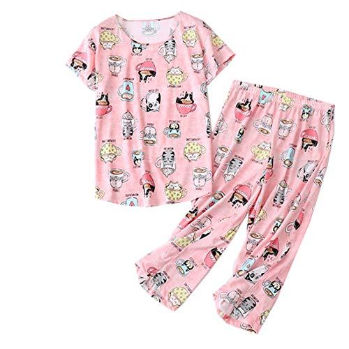 Women's Pajama Set - Sleepwear Tops with Capri Pants Casual and Fun Prints Pajama Sets SY215-Cup Cats-L