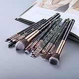 FLD5/15 brochas de maquillaje Set de herramientas de maquillaje en polvo cosmético sombra de ojos Fundación Blush Blending Beauty Make Up Brush Maquiagem (mango color: 15 piezas negro)