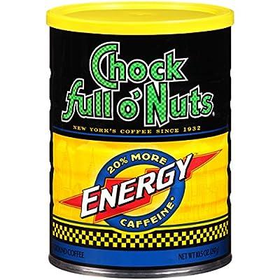 Chock Full o'Nuts Energy Blend Ground Coffee, Medium Roast - 100% Premium Coffee Beans – Deep, Rich, Bold Medium Blend with 20% More Caffeine (10.5 Oz. Can)