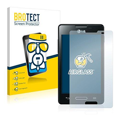 BROTECT Protector Pantalla Cristal Compatible con LG Electronics E440 Optimus L4 II Protector Pantalla Vidrio Dureza 9H AirGlass