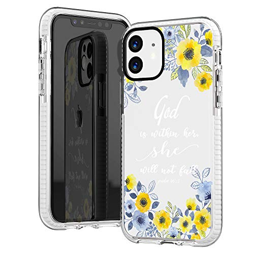 iPhone 11 Case,Girls Women Flowers Florals Blooms Roses Daisy Christian God Within Her Psalm 46:5 Bible Verses Quotes Inspirational Cute Soft Protective Clear Case With Design Compatible for iPhone 11
