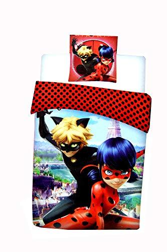 Ladybug Cat Noir Single Duvet Cover and Pillowcase Set,Kids Duvet Cover.