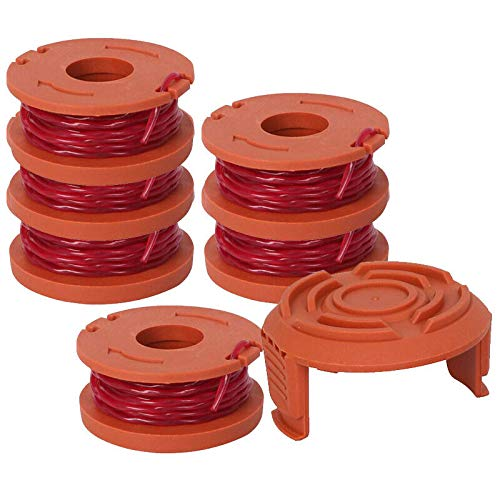 Powertool Rasentrimmer-Ersatz, Rasen-Schnurspule + Kopf-Basisabdeckung Trimmerkappe für Worx (6 Spulen + 2 Kappen)