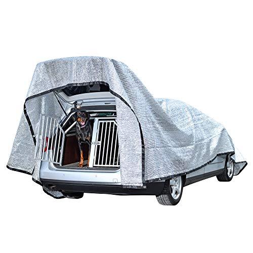 Petgold Schattennetz Auto für Hunde 3x4 m – 12m² Alu Schatten Netz 85% UV Sonnenschutz Hitzeschutz Haube für Tiere