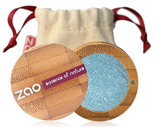 ZAO Pearly Eyeshadow 116 pfauenblau hellblau Lidschatten schimmernd in nachfüllbarer Bambus-Dose...