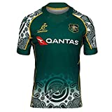 JFIOSD 2021 Australia Home/Away Rugby Jersey,Hommes Summer Sports T-Shirts,Femmes Outdoor Sweat-Shirts,Loisirs Polo Shirt,Vert,L