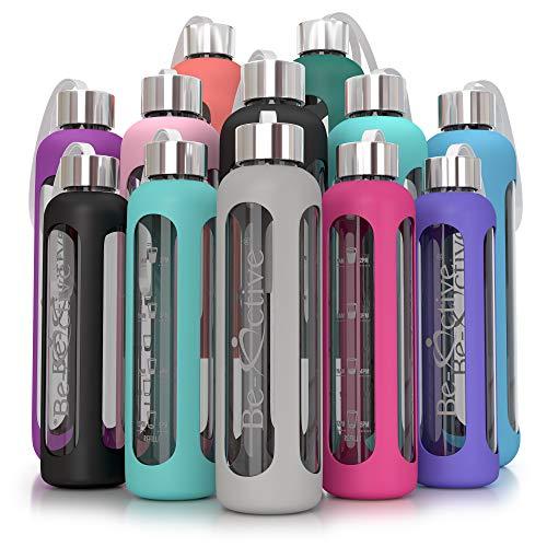 Be-Active Glasflasche - Trinkflasche aus Glas BPA-frei Borosilikatglas Wasserflasche mit Silikonhülle - 550ml, 1000ml (1000ml, Dunkelgrun)