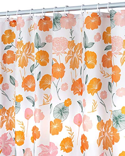 """Floral Shower Curtain for Bathroom (72"""" x 72""""), Water-Repellent Cute Shower Curtain for Bath Tubs & Shower, Machine Washable Polyester Fabric Flower Shower Curtain, Orange Shower Curtain + 12 C Hooks"""