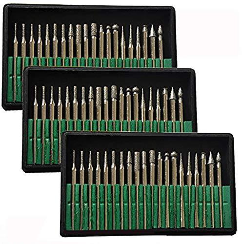 Brccee AC 60 Pcs Diamond Burr Bits Drill Kit Glass Gemstone Metal for Craftsman Engraving Carving Rotary Tool 1/8