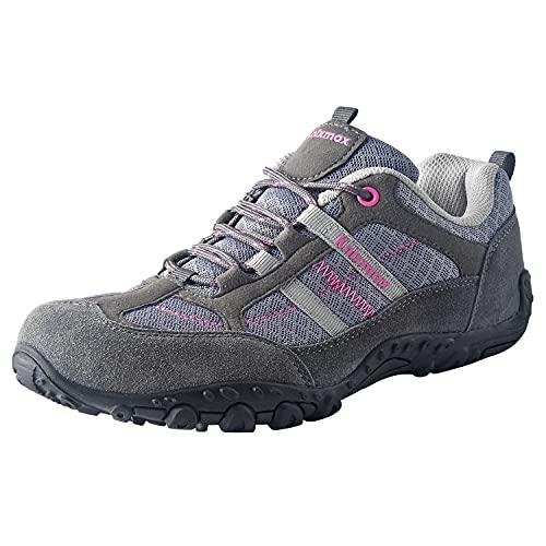 Knixmax Women's Hiking Shoes Lightweight Non-Slip Climbing Trekking Sneakers for Woman Camping Backpacking Shoe Grey Size 6 US/EU 37