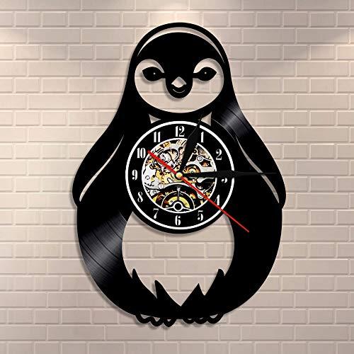 wtnhz LED-Reloj de Pared de pingüino de Dibujos Animados Animal Vida Marina Sudáfrica pájaro Agua Jackass Mamífero Vinilo Reloj de Pared decoración de la Pared de la habitación de los niños