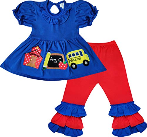 Boutique Toddler Girls Back to School School Bus Apple Pencil Ruffles Tunic Pants Outfit Navy/Red 4T/L