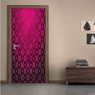 Magenta,3D Door Wallpaper Medieval Style Stripes Environmental Waterproof W36xH79