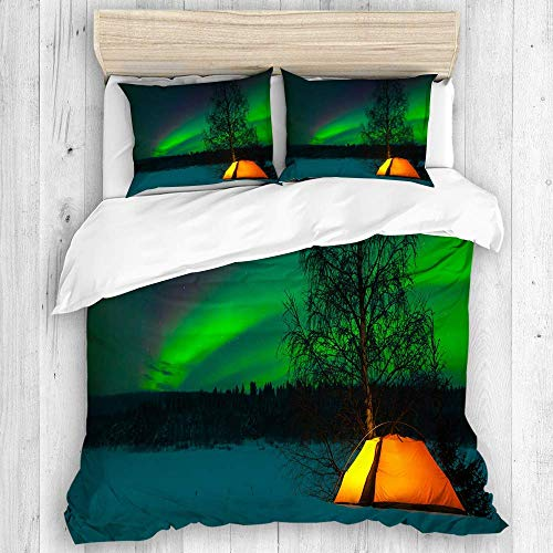 AXEDENRRT Design Comforter Cover Sets Full/Queen 3 Pieces Holiday Pattern Home Decor 100% Washed Microfiber Picture Northern Lights Camping Tent Under Magnetic Field Nature Comforter Cover Sets