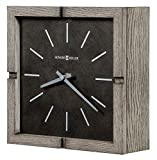 Howard Miller Fortin Mantel Clock 635-229 – Warm Gray Finish, Square Timepiece, Blackened Steel Finished Dial, Aged Silver Hands, Rustic Home Décor, Quartz Movement