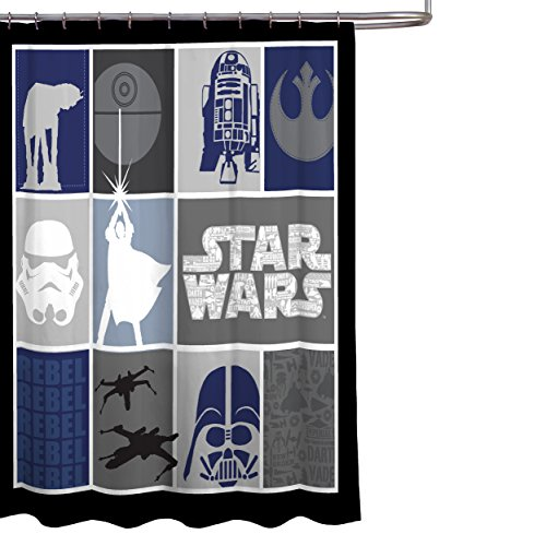 """Star Wars Classic Quilted Microfiber 70"""" x 72"""" Fabric Shower Curtain"""
