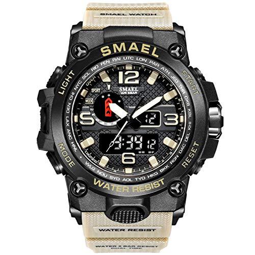 Relojes para Hombres, Relojes Digitales, Relojes para Niños, Reloj Militar Digital Analógico Reloj Deportivo para Hombres Reloj De Doble Esfera Relojes De Pulsera Electrónicos (Khaki)