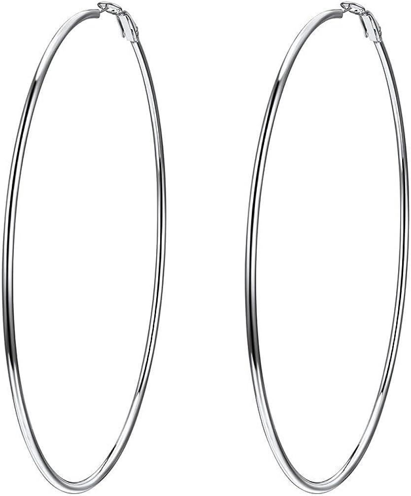 100mm100mm Oversize Hoop Earrings for Women, Black/18K Gold Plated Stainless Steel Big Hoop Earrings Hypoallergenic, Statement Jewelry, Gift for Her