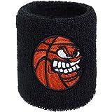 Muñequera con bordado de baloncesto, bordado y absorbente, de rizo, color negro, muñequera para baloncesto, regalo de cumpleaños